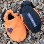 Baby booties, orange and bl..
