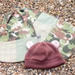 Bib, burp cloth and hat set..