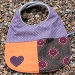 Baby bib - purple, orange b..