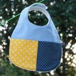 Baby bib - blue and yellow ..