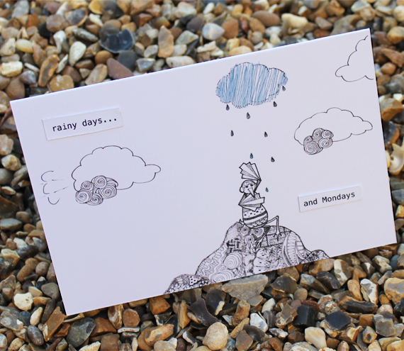 Rainy days and Mondays card (detailed doodles range)