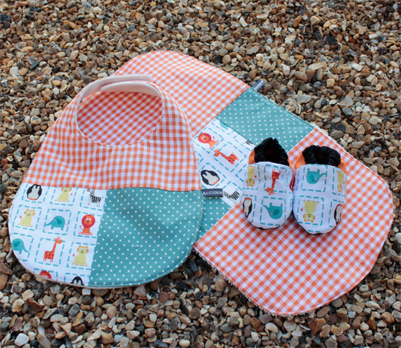 Bib, burp cloth and bootie set