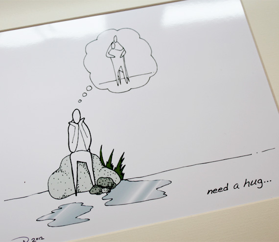 "Need a hug illustrative print (10"" x 12"" / 255mm x 305mm)"