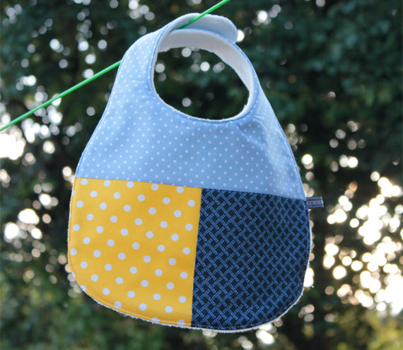 Baby bib - blue and yellow spots