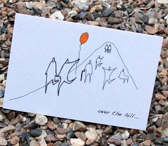 A6 Over the hill birthday card (anonymity range)