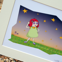 Molly, Superstar in the making, Illustrative print (12&amp;quot; x 10&amp;quot; / 305mm x 255mm)