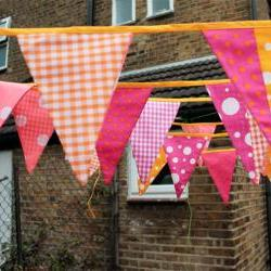 Fabric bunting - pink and orange, 6m / 19.5&#039;