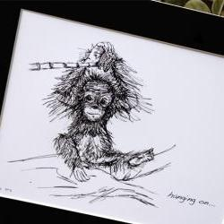 "Original art illustrative print, Orangutan (10"" x 12"")"