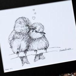 "Original art illustrative print, Lovebirds (10"" x 12"")"